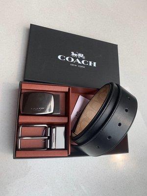 【紐約精品舖】COACH 22540 黑色 卡其色雙面雙色男士皮帶 雙口頭 可旋轉 時尚休閒款 超低直購  附購買憑證
