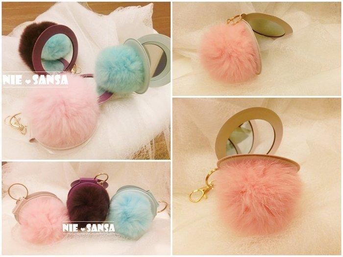 【Nie Sansa】現貨特價出清 可愛毛球隨身鏡吊飾/隨身化妝鏡/小鏡子
