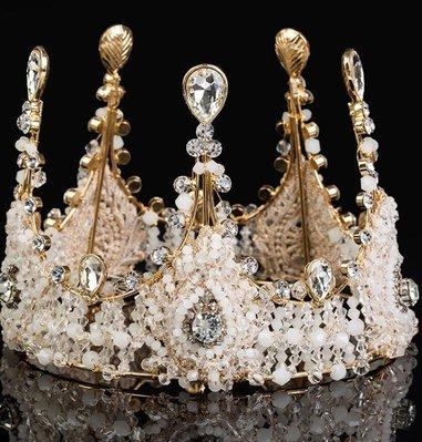 新娘皇冠 歐式女王複古手工水晶大圓冠結婚配飾婚紗頭飾品 頭紗配件—莎芭