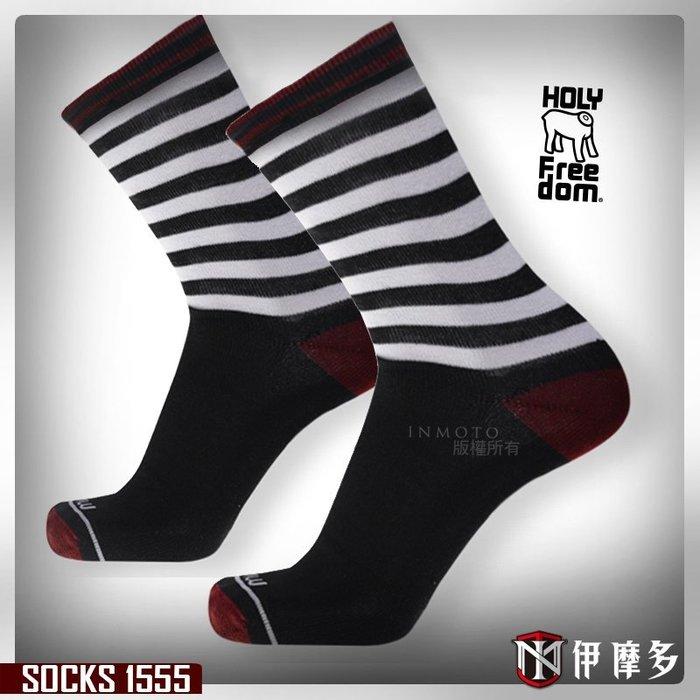 伊摩多※意大利 HOLY FREEDOM SOCKS 舒適短襪 - FORCE款 個性圖紋 騎士 重機.黑白1555
