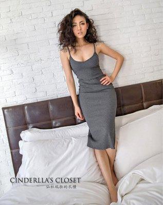 《仙杜瑞拉的衣櫃》現貨 sk0833 美國Brandy 彈性羅紋低胸 開衩細肩帶連身裙