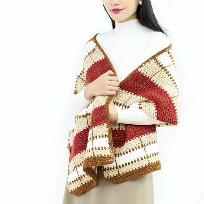 聚吉小屋 #蘇蘇姐家蘇格蘭格紋披肩圍巾 手工diy鉤針羊毛粗毛線團材料包