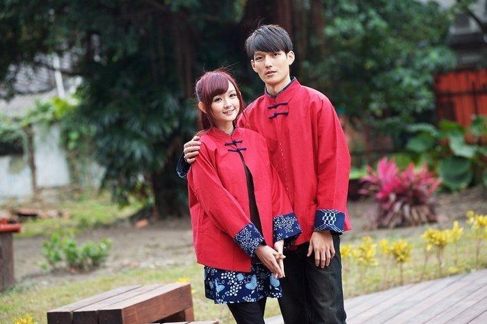 !!((中國藍Anewei)))男紅素布對襟雙面唐裝外套/棉襖~S最後兩件~另有藍女生款情侶裝