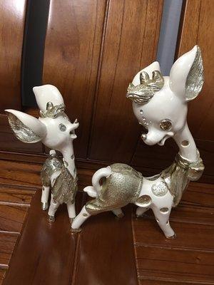 ⭐️滿天星⭐️精緻瓷器烤漆鑲水晶鑽實心的小鹿班比一對 特價中