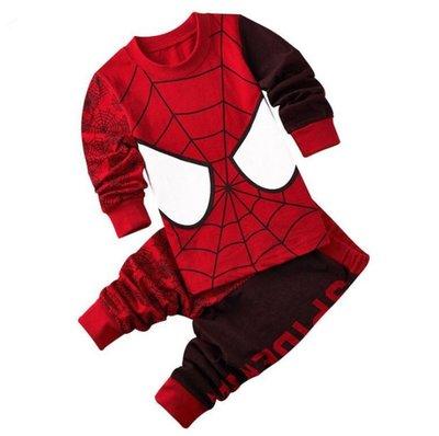 •*~ 辣媽咪衣飾小舖 ~*•❤童裝系列 📣K030211韓版兒童春秋款居家服休閒卡通圖案蜘蛛人長袖上衣+長褲二件套