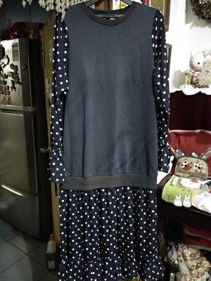 全新 50% FIFTY PERCENT 日系 深藍 點點 洋裝