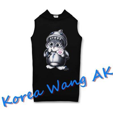 Korea Wang AK ~(預購)台灣原創獨家設計 美國100%純棉 限定版 鯨魚貓連帽長版背心 兩款【P014】