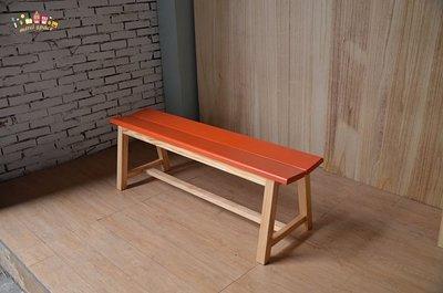 美希工坊 VICTOR bench 勝利凳/實木長凳/實木款/可訂製/可訂色/原木色搭配橘色椅面