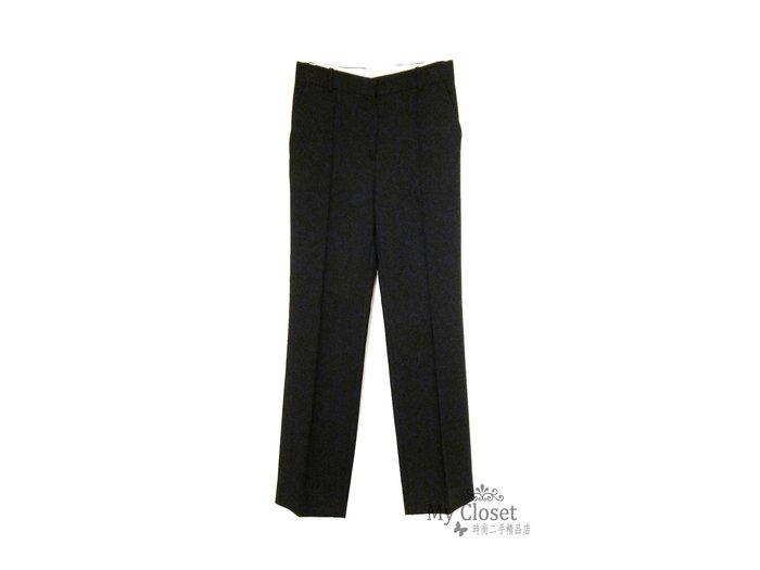 My Closet 二手名牌 CELINE 黑色毛料直筒長褲