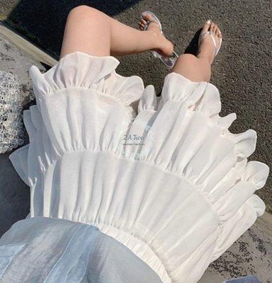 【2A Two】한국高腰荷葉邊A字雪紡蛋糕裙『BA0615』
