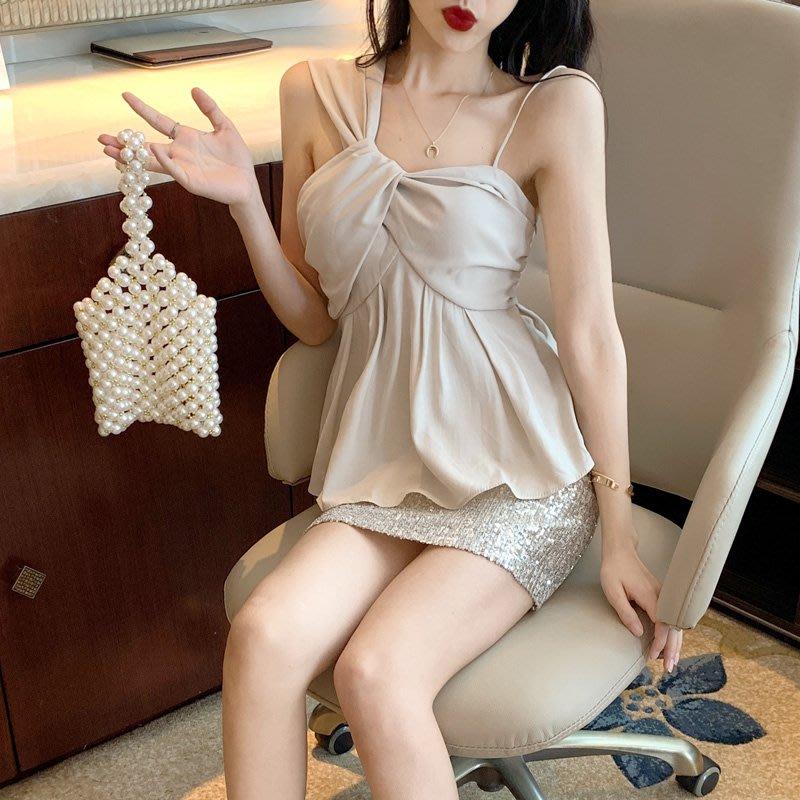 韓版 平口T恤 一字肩 時尚百搭性感露肩無袖修身顯瘦不規則吊帶上衣女