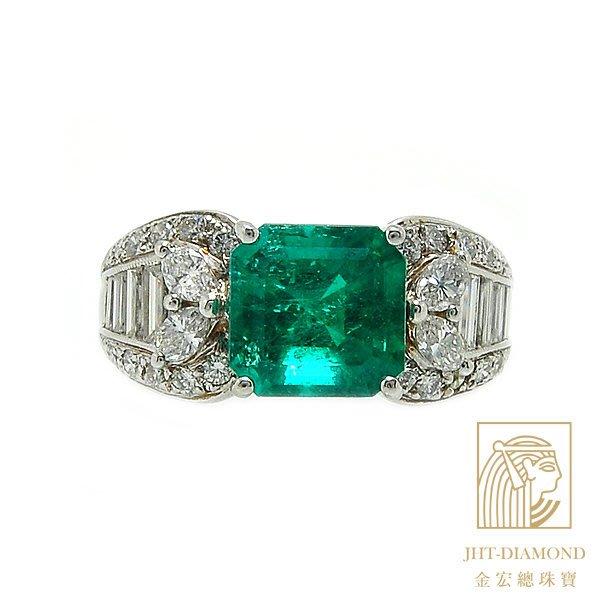 【JHT 金宏總珠寶/GIA鑽石專賣】2.80克拉天然祖母綠戒指/配鑽:1.30ct/材質:18K附證(E000032)
