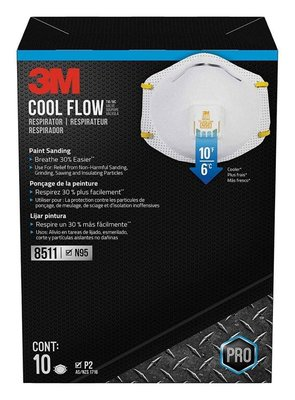 美國直送 3M 8511 respirator, N95 cool flow valve (10-pack) 防護口罩 (10個/盒)