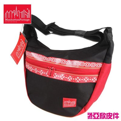 ☆東區亞欣皮件☆ Manhattan Portage 曼哈頓  6056-NOR-STG ( BLK / RED ) 民族風半月包