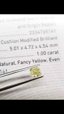 ❤天然黃鑽❤Fancy Yellow等級~裸石~1.00克拉~有GIA證書