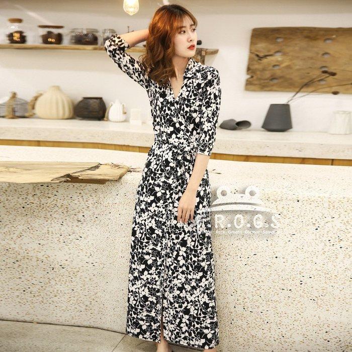F.R.O.G.S UG1023歐美黑白印花各身形皆適合造型一片裙裹身裙綁帶裙休閒裙修身裙連身裙連衣裙洋裝