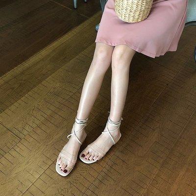 柒柒KR 正韓綁帶平底涼鞋女夏季正韓復...