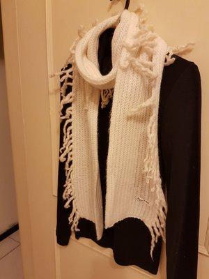 日本專櫃品牌~Private Label~白色毛線編織流蘇圍巾