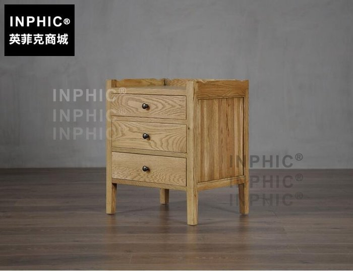 INPHIC-北歐橡木床頭櫃 三抽簡約復古法美式臥室小邊角櫃 實木框架櫃_S1910C