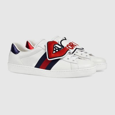 GUCCI Ace sneaker with removable patches Blind For Love 小白鞋