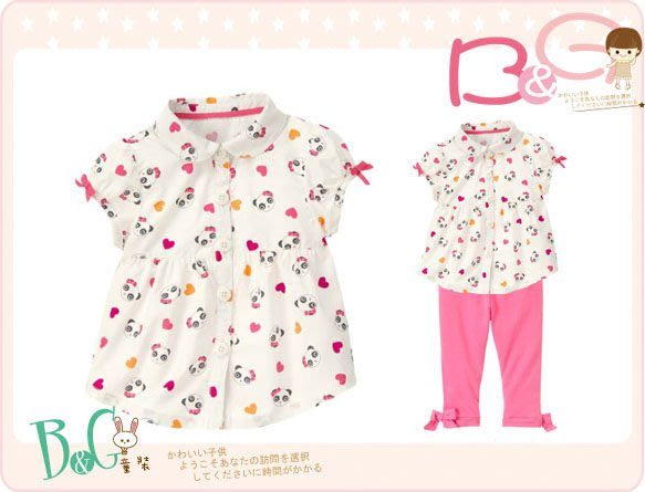【B& G童裝】正品美國進口GYMBOREE Panda Heart Shirt小熊貓圖樣白色短袖襯衫18-24mos