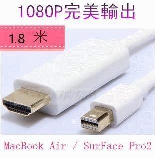 Mini DisplayPort Thunderbolt 轉 HDMI 公對公 轉接線 轉換線 連接線 1.8米 DP 轉 HDMI
