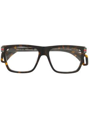 GUCCI Logo 男生配件 玳瑁色矩形鏡框玳瑁色側臂眼鏡  萊克精品代購 190828023