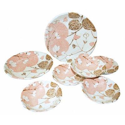 ~ 和藍~夢小花餐盤7件組  美濃燒   日式 無毒 瓷器 生日 結婚 送禮 工藝 收藏品