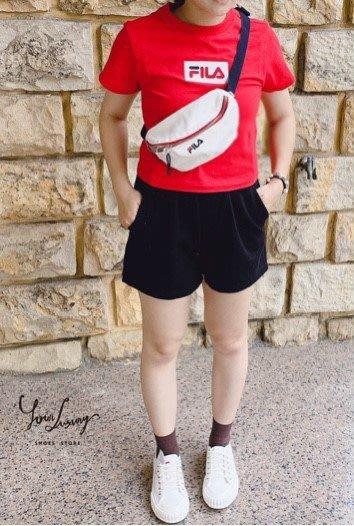 【Luxury】Fila Logo 迷你腰包 霹靂包 側背包 側背 隨身包 貼身包 黑白粉 方便攜帶 純棉 男女可用