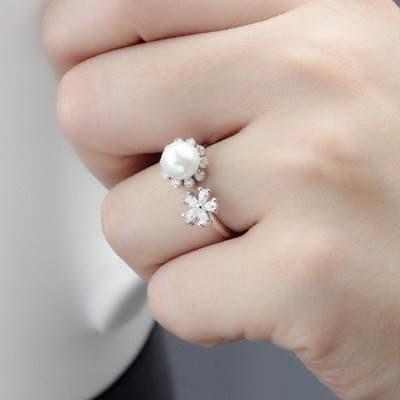 鑲鑽戒指 925純銀開口戒-時尚氣質花朵珍珠七夕情人節生日禮物女飾品73kd57[獨家進口][巴黎精品]