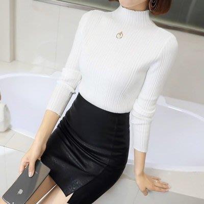 針織衫 長袖 打底 衫-高領純色條紋修身女T恤4色73px12[獨家進口][巴黎精品]