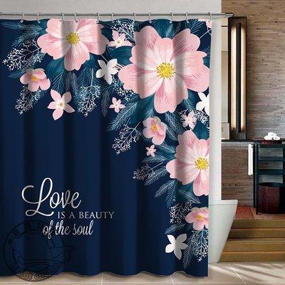 【灰熊好物】客製化訂製浴簾 任意尺寸規格圖案 IKEA宜家簡約現代風格 防潑水防霉淋浴簾子 更衣室布簾門簾 愛戀花葉