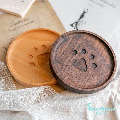 日式肉球木質杯墊(深色)《GrayShop》黑胡桃木 腳印杯墊 貓腳印 熊掌  攝影道具 拍照道具 居家裝飾 餐廳擺飾