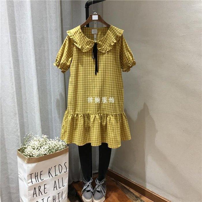韓櫥服飾夏季新品格子休閒荷葉邊短袖連身裙女5547系帶顯瘦裙擺式短裙學生