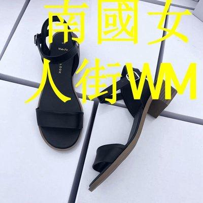 南國女人街WM咨詢有驚喜!涼鞋女2019新款夏黑色一字帶扣粗跟仙女風中跟鞋百搭