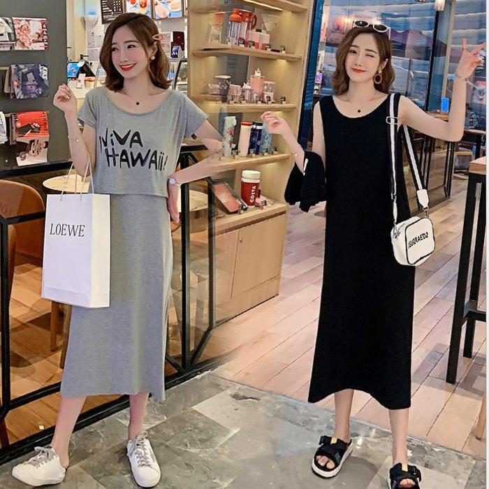 漂亮小媽咪 韓國洋裝 【D1472】 二件式 短袖 傘擺 孕婦裝 長版衣 孕婦洋裝 實品拍攝