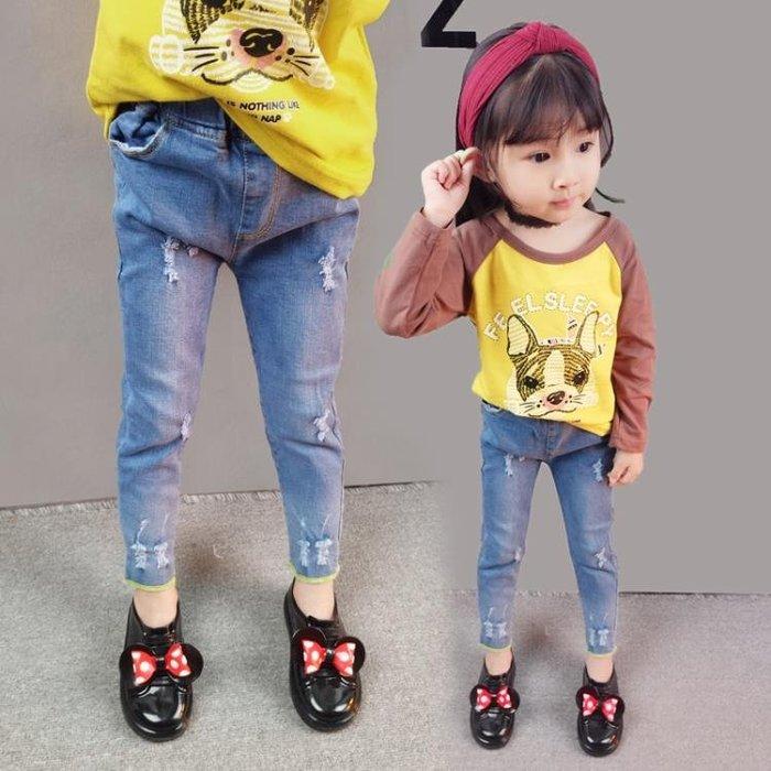 女童春裝2018韓國休閒兒童牛仔褲女寶寶小孩春秋季5長褲子3-4歲潮