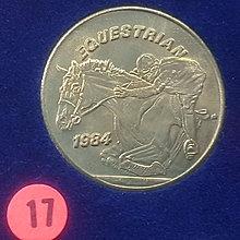 ☆承妘屋☆1984年美國洛杉磯奧林匹克運動會奧運紀念章 ~ZAB.馬術騎馬.17