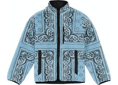 Supreme Reversible Bandana Fleece Jacket Light Blue