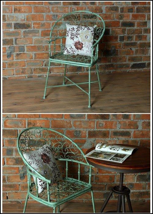 鄉村風情 綠色仿舊鐵花造型靠背椅 金屬刷舊餐椅書桌椅戶外庭院椅營業場所椅公婆椅一桌兩椅休閒椅單人椅辦公椅【歐舍家飾】