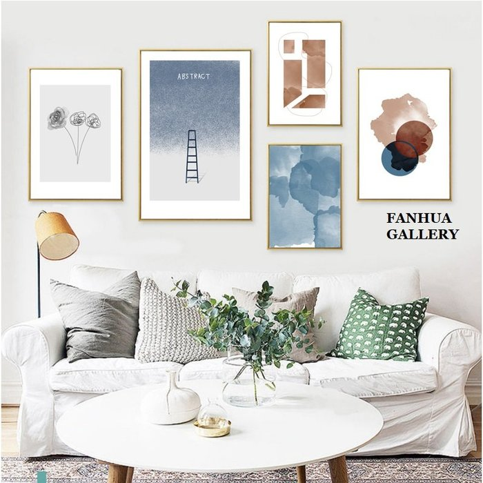 C - R - A - Z - Y - T - O - W - N 北歐簡約小品文藝幾何抽象水彩藍色客廳浪漫裝飾畫溫馨掛