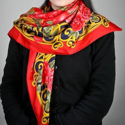【姊只賣真貨】Christian Dior 華麗粉色玫瑰花(大)領巾(紅色)送禮禮物自用皆可