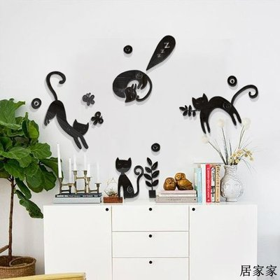 墻貼 墻畫 亞克力 立體墻畫 自黏 3D可愛小貓創意 北歐 玄關背景墻兒童房裝飾墻貼3D立體亞克力墻貼