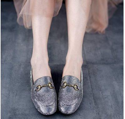 ~皮皮創~原創設計手工鞋。鑲水鑽文藝通勤小皮鞋