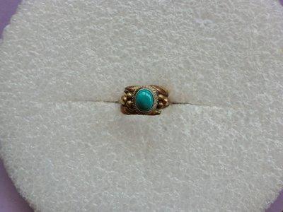 西藏老戒:三色銅.鑲藍色寶石