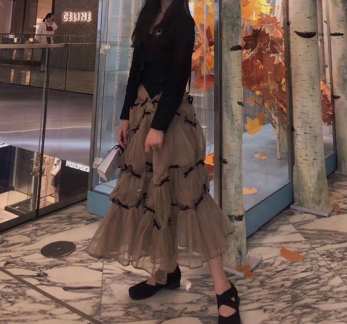 *菇涼家*超火的半身裙 CICI项偞婧同款纱裙网纱半裙