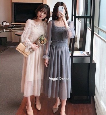 *Angel  Dance*長袖洋裝(2色)@韓國 網紗 送吊帶 方領 小禮服 派對 宴會 打底裙 顯瘦@現貨+預購