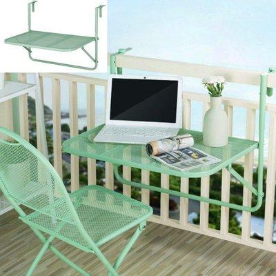 5Cgo【樂趣購】566569997435碳鋼烤漆防鏽桌椅韓式鐵藝壁掛折疊桌折疊椅室外露臺欄桿掛式餐桌花架四檔調高低