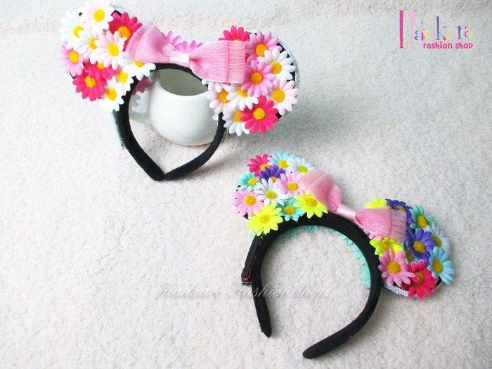 ☆[Hankaro]☆ 歐美新款派對LED發光彩色小雛菊耳朵髮箍花圈髮飾