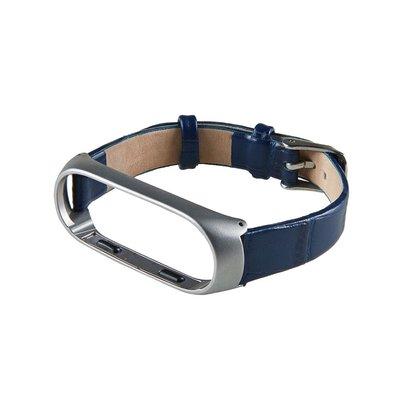 ?小米手環3/4?鱷魚紋真皮錶帶 MI3 (藍色)米蘭尼斯磁吸不鏽鋼金屬腕帶